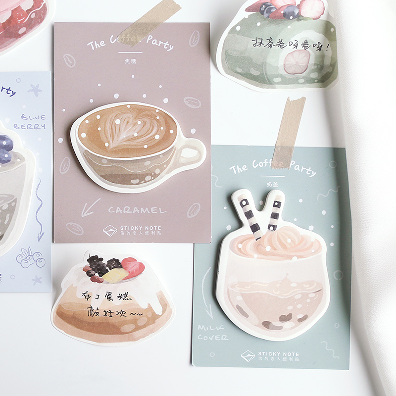 1 Pcs Dessert Cake Coffee Memo Pad Paper Sticky Notes Post Notepad Kawaii Stationery Papeleria School Supplies