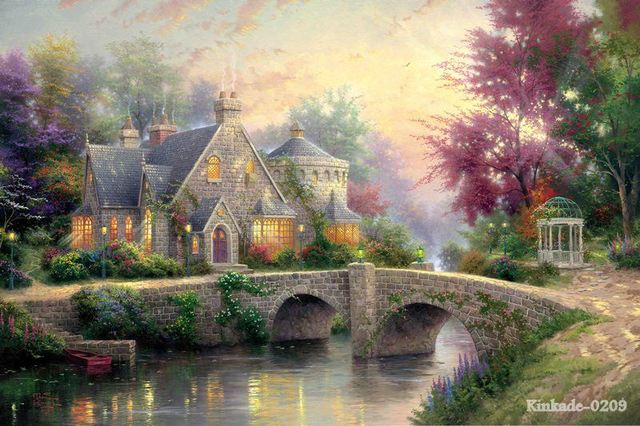 Thomas Kinkade Lamplight Manor printed canvas painting Contemporary artists canvas art pc painting wall art living roo
