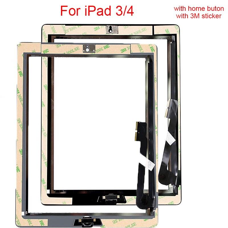 1 pcs Tactile écran Pour ipad 3 A1416 A1430 A1403 pour ipad 4 A1458 A1459 A1460 Digitizer Remplacement Verre avec autocollant Cadre Moyen