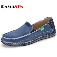 PAMASEN Newest High Quality Men Jeans Canvas Shoes Plus Size 39 46 Breathable Brand Men Slip