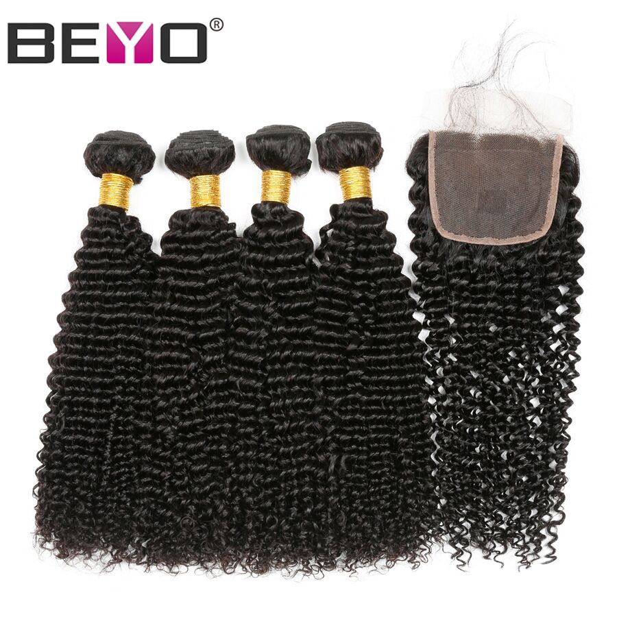 Beyo Kinky Curly Bundles With Closure Brazilian Hair Weave Bundles 5Pcs Human Hair Extension Curly Bundles With Closure Non Remy