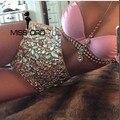 Envío Libre Missord 2017 Sexy cadena de Metal halter sequin pink FT4346