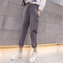 782bfd82117 Mferlier Corduroy Pants Large Size 3XL Women Elastic Waist Loose Mori Girl  Solid Black Gray Apricot Vintage Winter Harem Pants