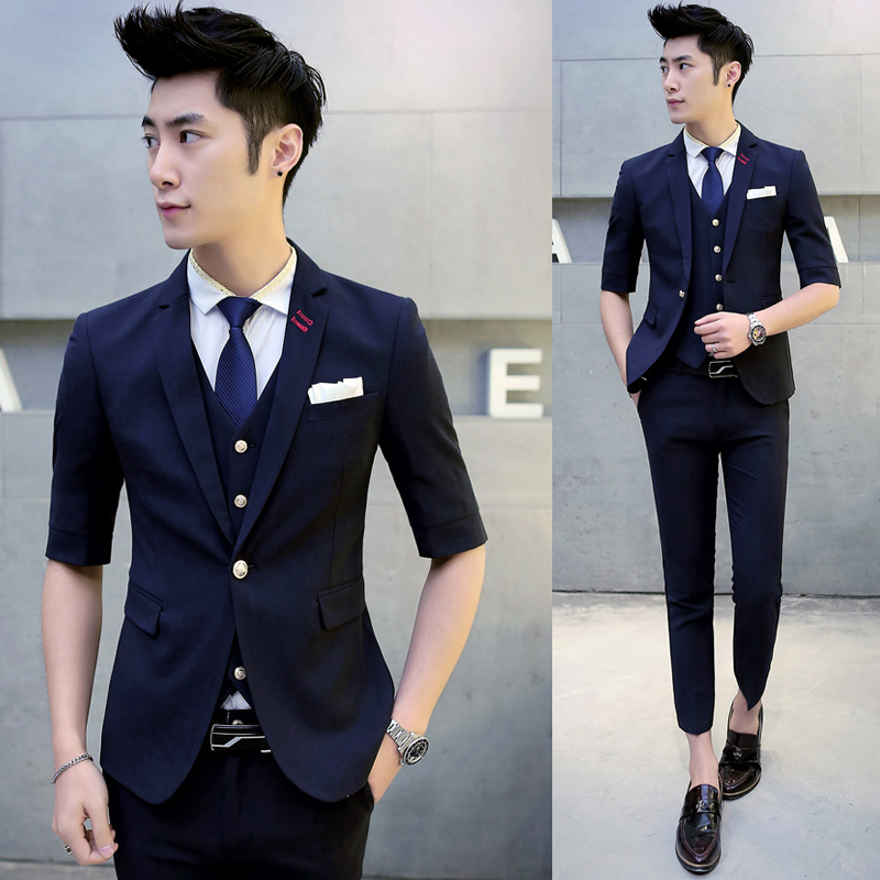 2017 Multi Short Sleeve Wedding Men Suit 3 Pieces Fashion Summer Costume Homme Mariage Mens Suits Man Slim Fit Terno Masculino