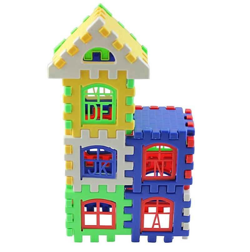 Пластик игрушки House строительный Конструкторы детские английские буквы обучения Образовательные Кирпич игрушки