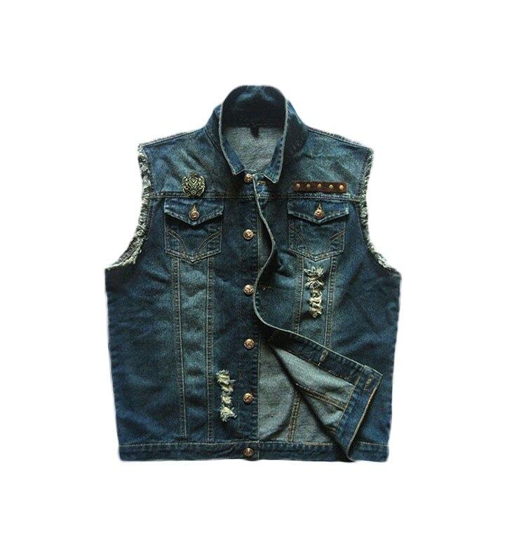 100% authentique profiter de prix bas plus gros rabais € 33.61 6% de réduction|Nouveauté hommes Denim gilet marque Jeans hommes  Cowboy badges Punk Biker gilet trou Denim sans manches moto cavalier  veste-in ...