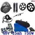 48V BBS02B BBS02 Bafang 48V 750W комплект электродвигателей с 48V 15AH литиевой батареей и зарядным устройством