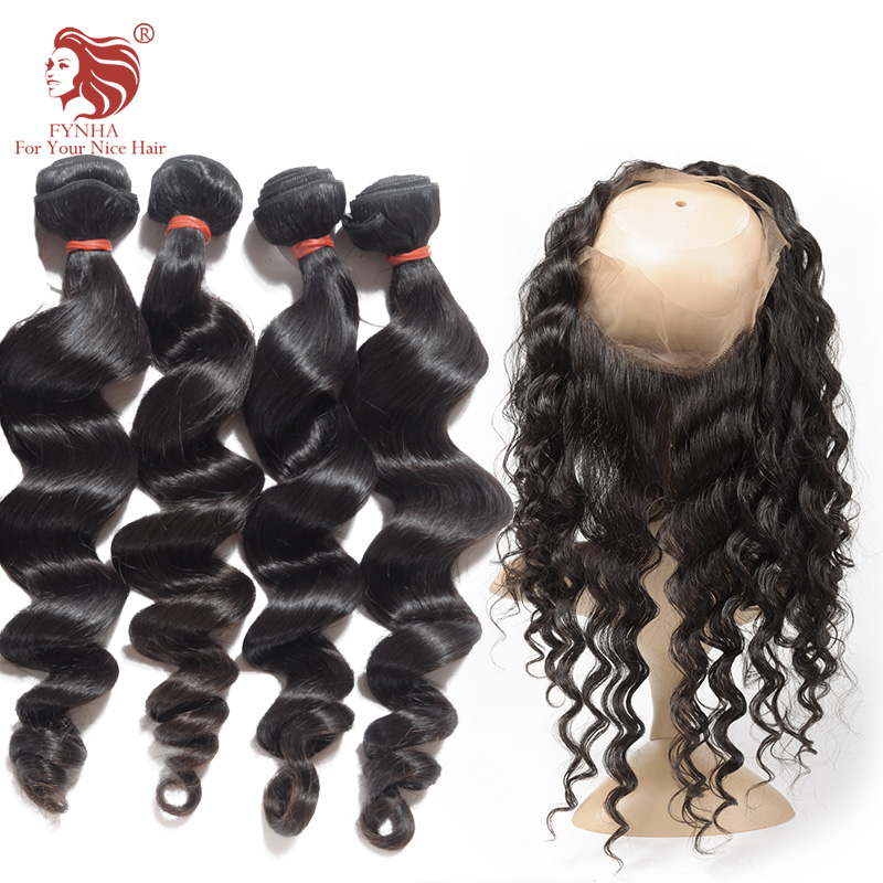 ФОТО 360 Lace Frontal With Bundles Loose Wave Lace Frontal Closure With Bundles 4Pcs/lot 7A Malaysian Virgin Hair With Lace Frontal