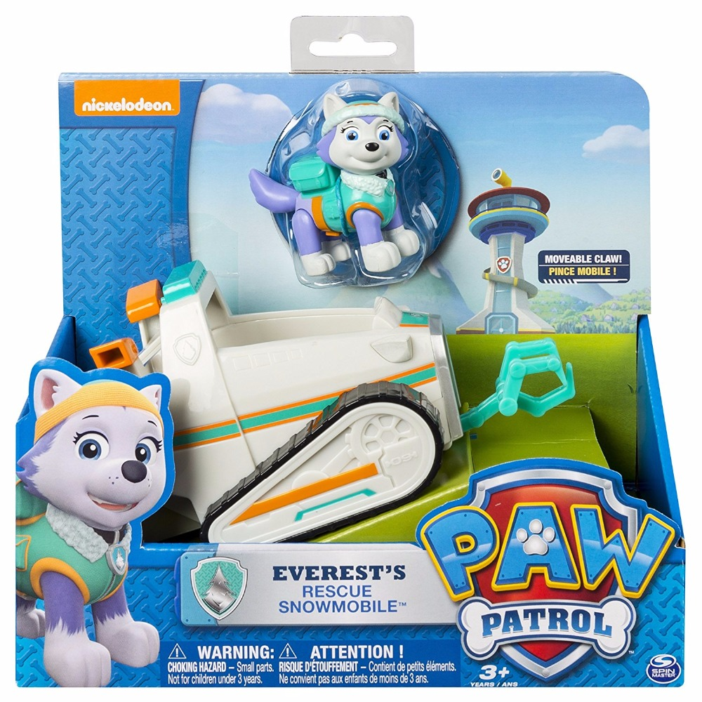 Genuine Paw Patrol Everest's Snowmobile Apollo Tracker Ryder Vehicle Juguetes Anime Figure Toy Patrulla Canina Patrol Dog Car