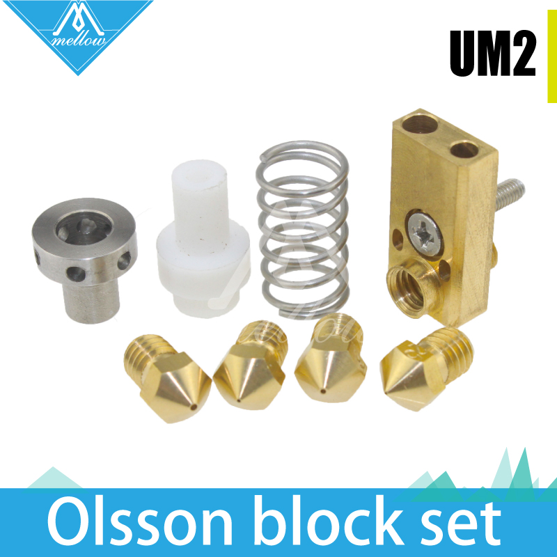 3D printer  Upgrade Ultimaker 2 + UM2 Extended+ Olsson block  nozzle hotend kit for 1.75/3mm filament  Heaterblock um 2 go 3d printer parts upgrade silicone rubber heater mat heated bed pt100 sensor for ultimaker 2 go build platform