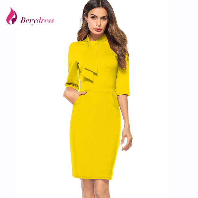 Berydress New Elegant Modest Office Lady Dress Pockets Retro Midi Sheath  Bodycon Pencil Dress 2018 50 s Summer Yellow Dresses 649c9f04f