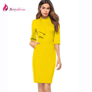 Berydress Elegant Midi Bodycon Pencil Dress 2018 Yellow 1a15abe45