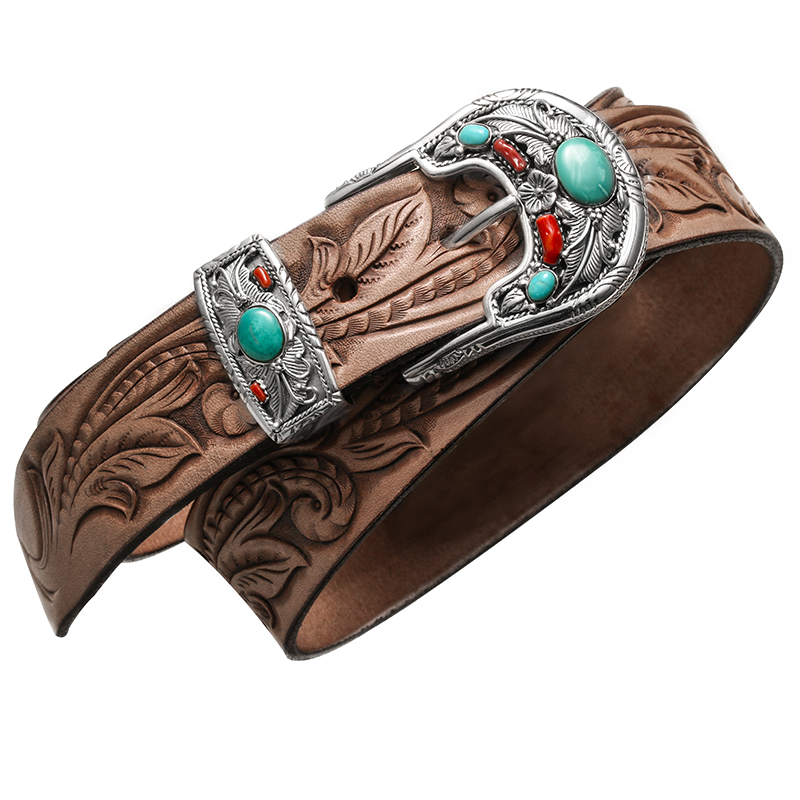 3680 genuine carved cowhide leather sterling silver buckle super quality durable stylish handmade belt