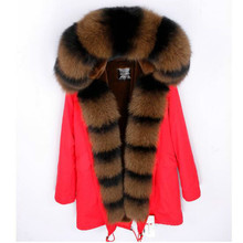 2018 new winter jacket natural large fox fur collar outwear thick warm faux Liner long