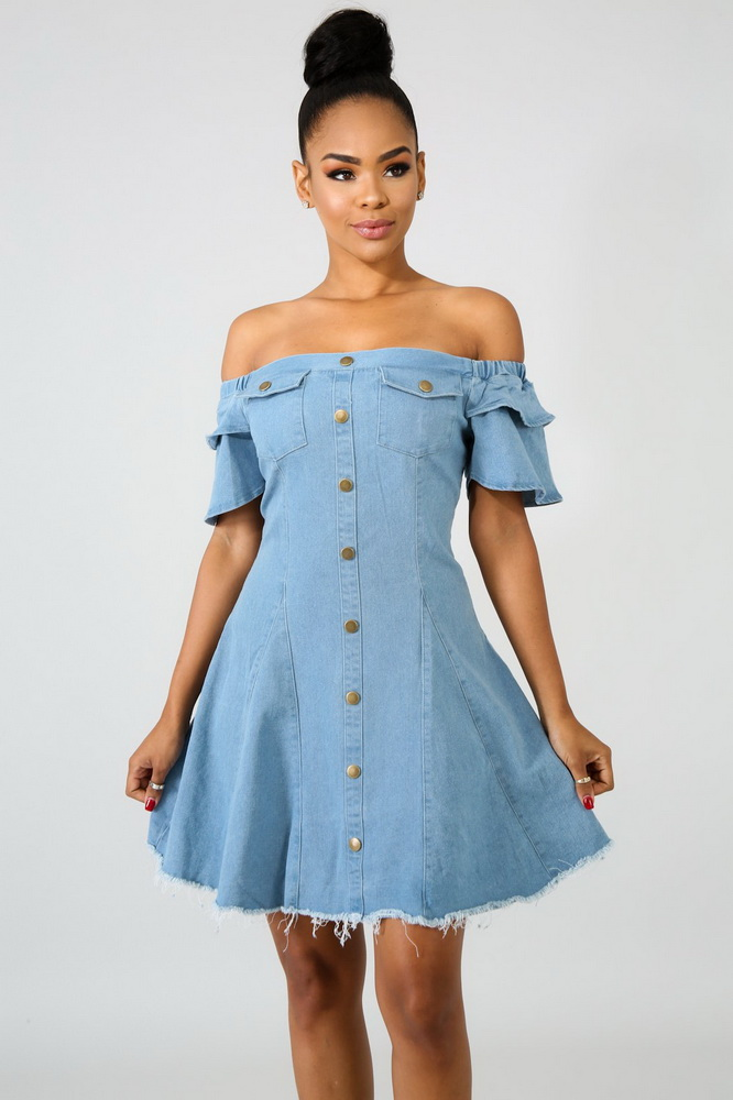 JIZHENGHOUSE Wholesale Club Party Jeans Dress Sexy Denim Dress Slash Neck Off The Shoulder Ladies Casual Mini Dresses Vestidos