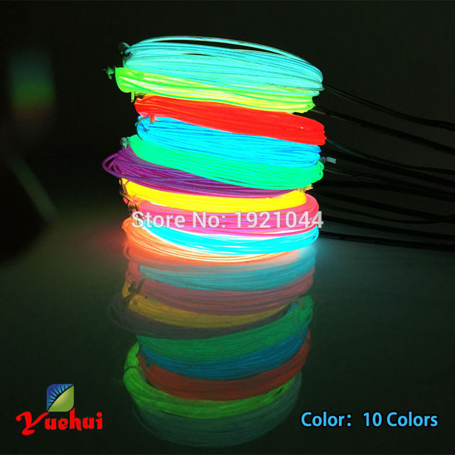 For Halloween Party Decoration 1.3mm 2Meters 10 Colors available EL Wire With flashing/steady on  Powered By 2-AA Batteries