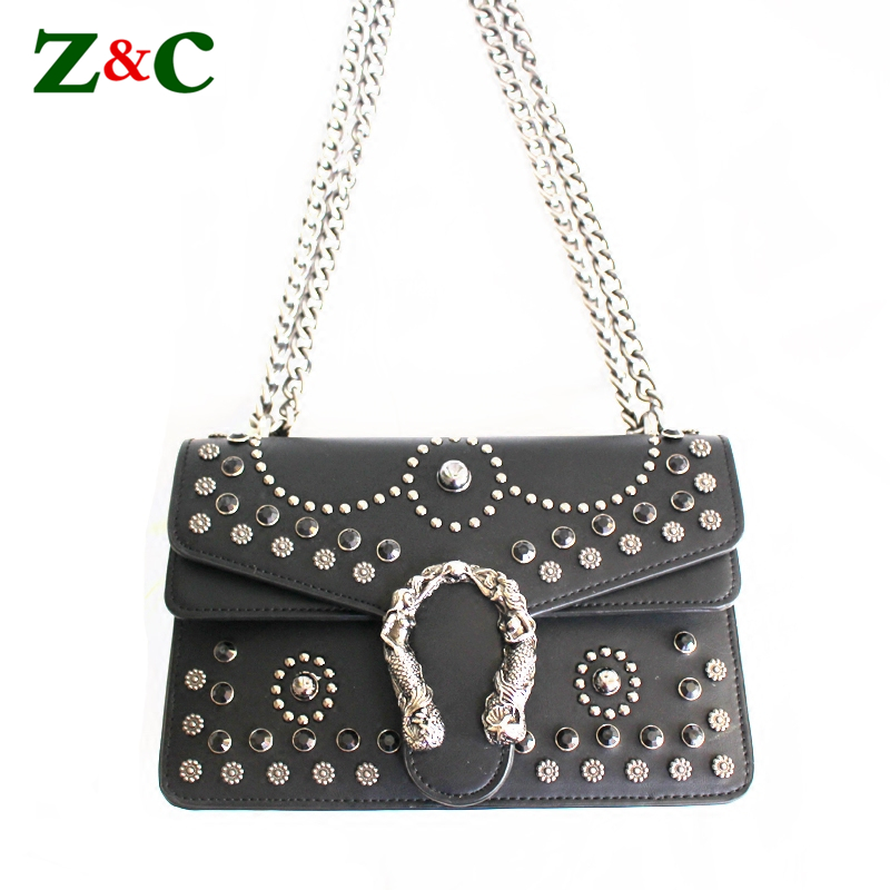 Luxury Brand Designer Handbag Women Rivet Chain Casual Shoulder Bag Messenger Bag Women Leather Bag Famous Design Motorcycle Bag fashion casual michael handbag luxury louis women messenger bag famous brand designer leather crossbody classic bolsas femininas