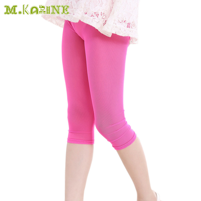 8ac657db57565 2017 Hot Summer Mesh Leggings for Girls Kids 7th Solid Trousers Candy Color  Baby Girls Pants Anti-mosquito Children Boys Capris