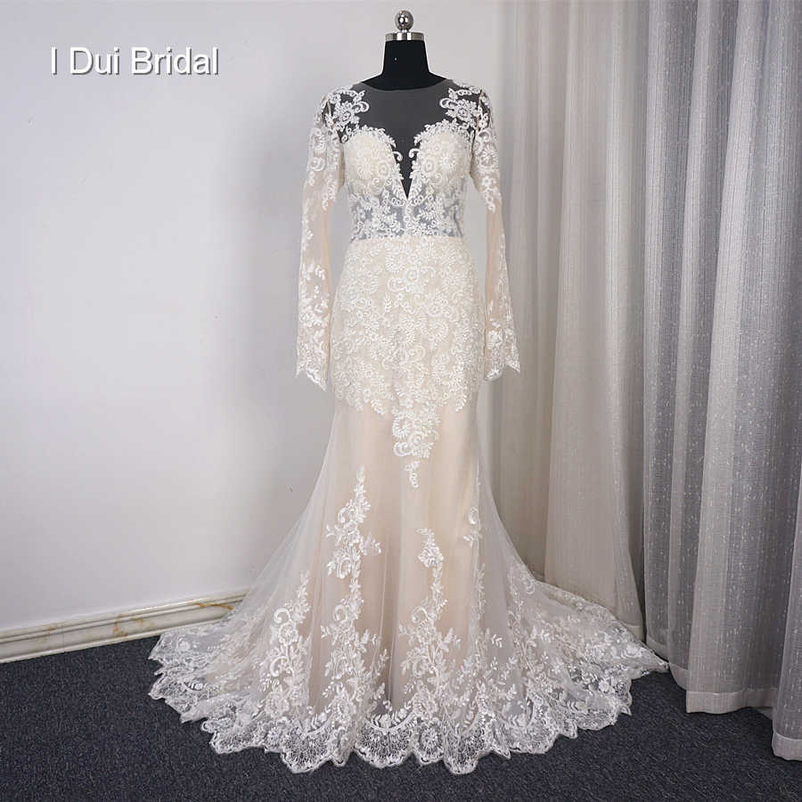 Long Sleeve Mermaid Light Champagne Wedding Dresses with Lace Appliqued Illusion Back Custom Made