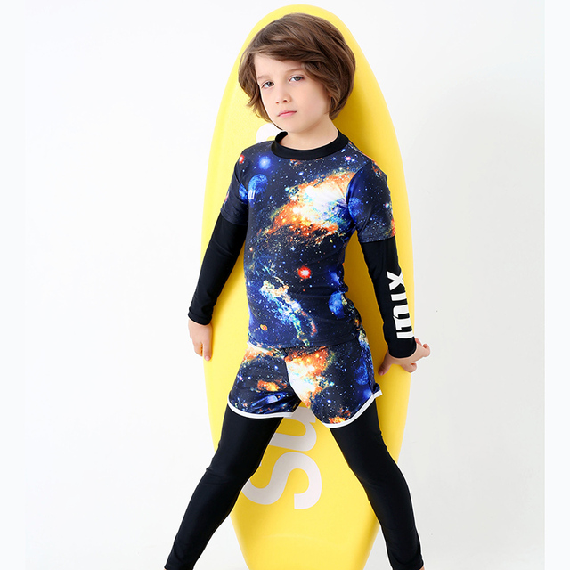 0543f55227 New stars sky Two Piece Swimsuit Boys Swimwear with Long Sleeve Boxer Pants  Bathing Suit Kids Beach Surfing Swim Wear Child