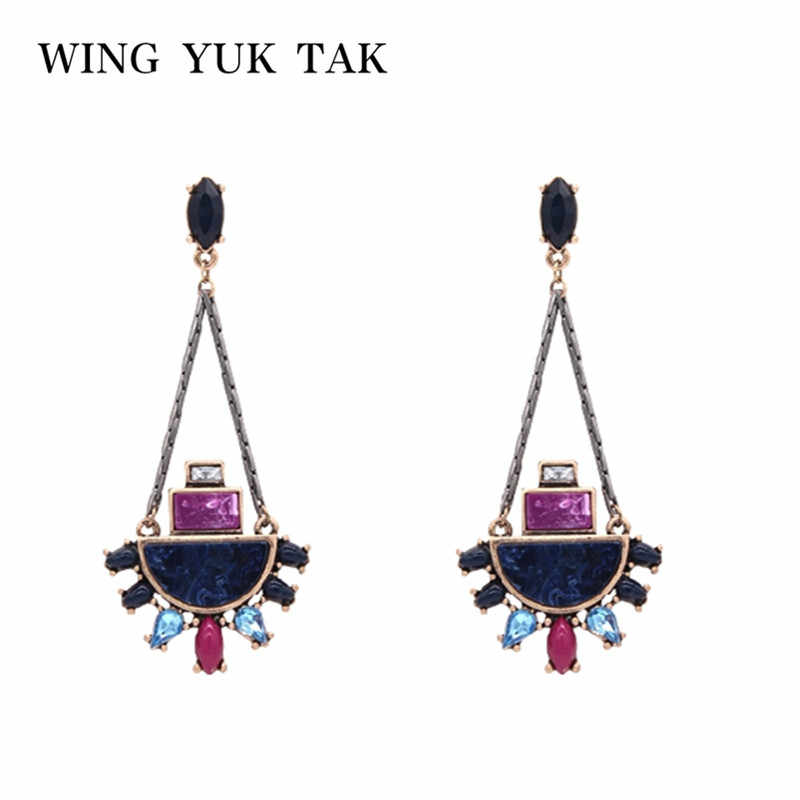 wing yuk tak Top Fashion Vintage Brinco Earings Brand Exquisite Geometric Gem Earrings For Women Bijoux Boucle D'oreille