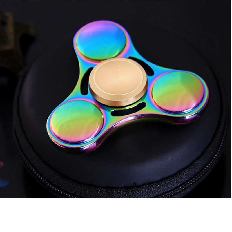 Colorful EDC Tri Spinner Fidget Toys Pattern Hand Spinner Metal Fidget Spinner ADHD Adult decompression toys