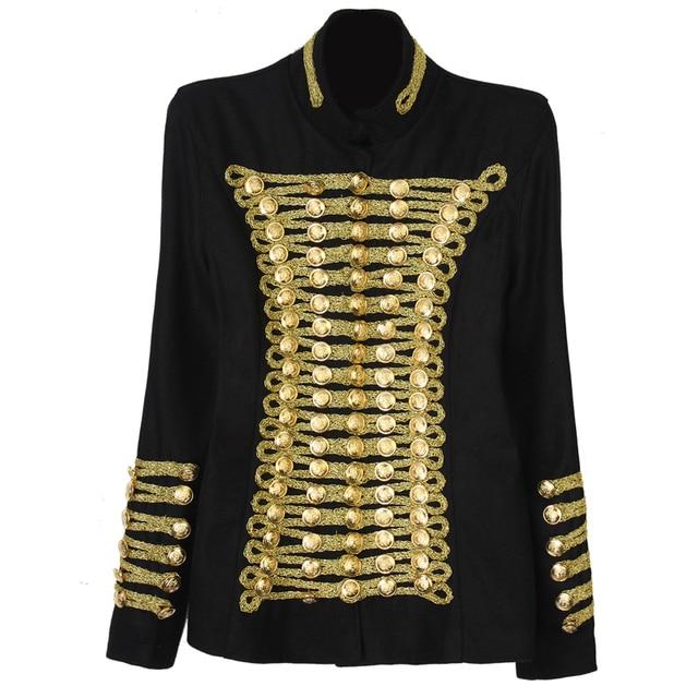BAROCCO Уникальный Взлетно-Посадочной Полосы Моды Рок Панк Куртка женская Шерсть Золотые Пуговицы Армии Наполеона Куртка