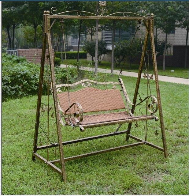 Exterior jardín patio de ratán PE marco de hierro columpio asiento ...