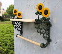 Country Sunflower Wrought Iron Towel Rack With Shelf Bath Accessories Towel Holder Free Shipping Cast Iron Craft Home Decor