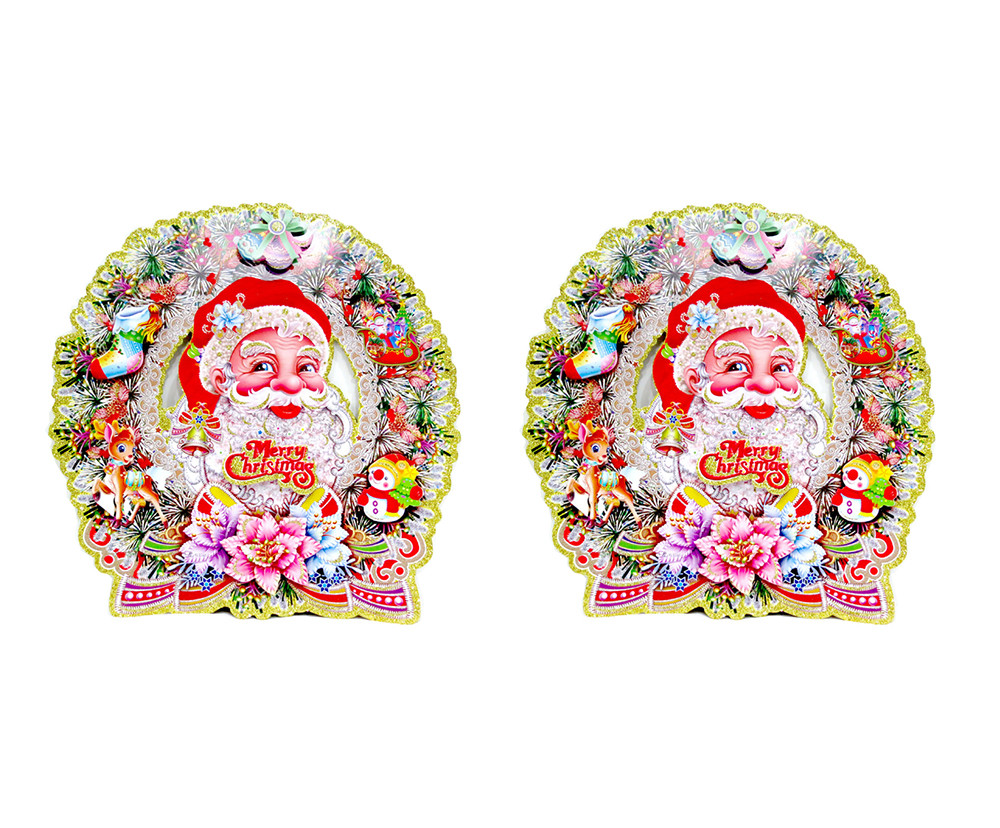 2018 2PCS Removable Wall Sticker Santa Claus Carrying Gifts Outside of Window on Christmas Respect Store