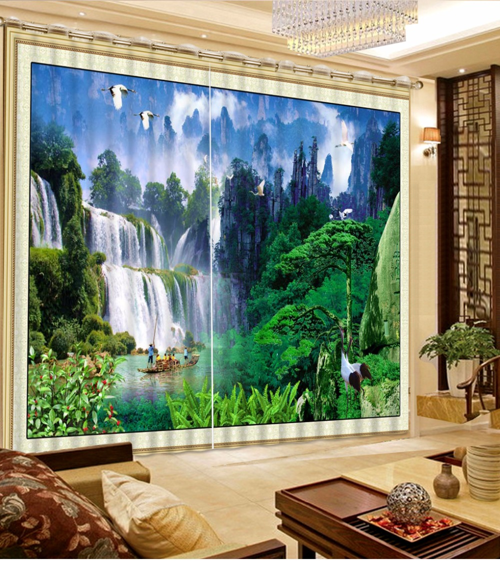 Waterfall Curtains 3D Sheer Curtains For The Living Room Bedroom Blackout Window Home Curtains Waterfall Curtains 3D Sheer Curtains For The Living Room Bedroom Blackout Window Home Curtains