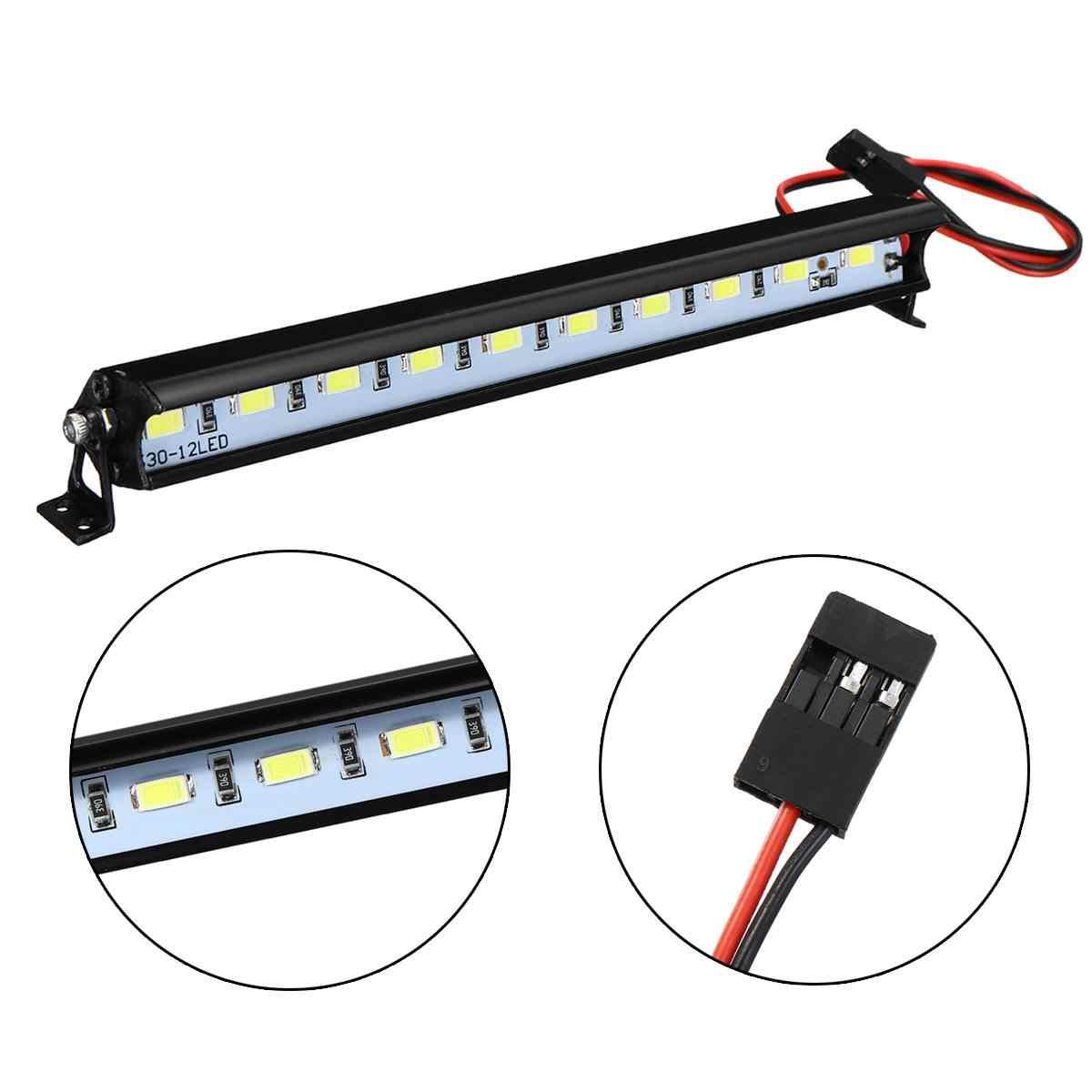 Para Trx4 SCX10 D90 RC 4WD Metal lámpara de techo LED barra de luz 4,8 V-7,4 V para 1/10 orugas coche blanco Super brillante iluminación