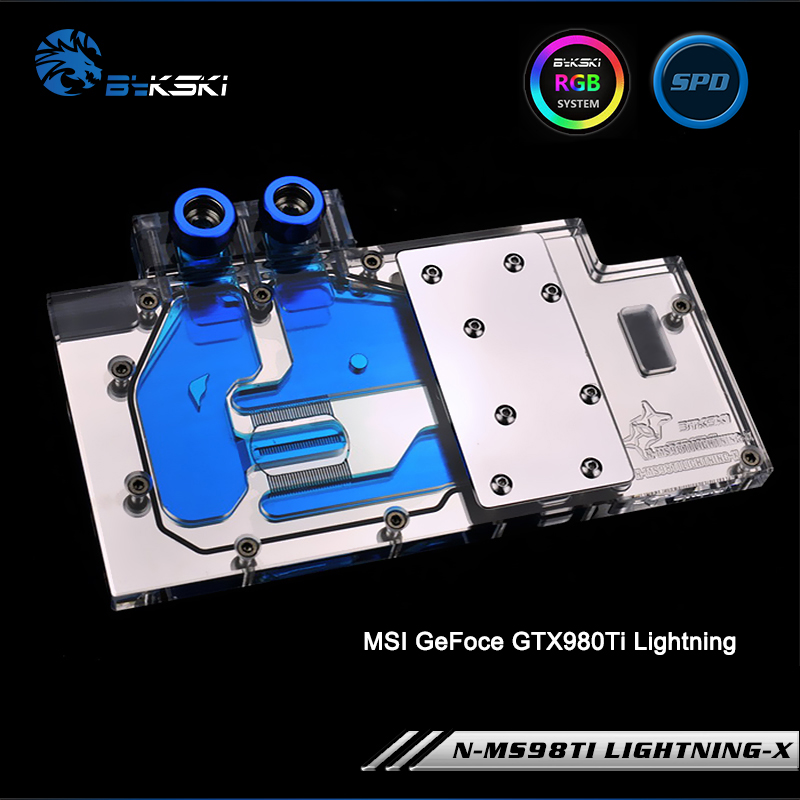 Bykski N-MS98TI LIGHTNING-X Full Cover Graphics Card Water Cooling Block RGB/RBW/AURA for MSI GeFoce GTX980Ti Lightning bykski n ms1060dark x full cover graphics card water cooling block rgb rbw aura for msi geforce gtx1060 6g duke