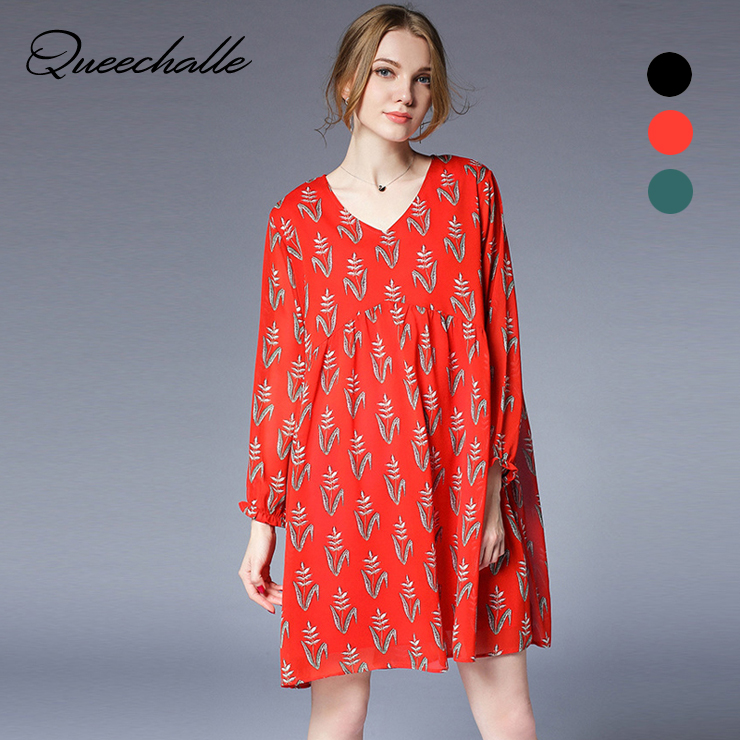 6be655870a Queechalle Brief V neck long sleeve loose chiffon dress Spring lace lotus  leaf large size Women dress casual black orange green-in Dresses from  Women s ...