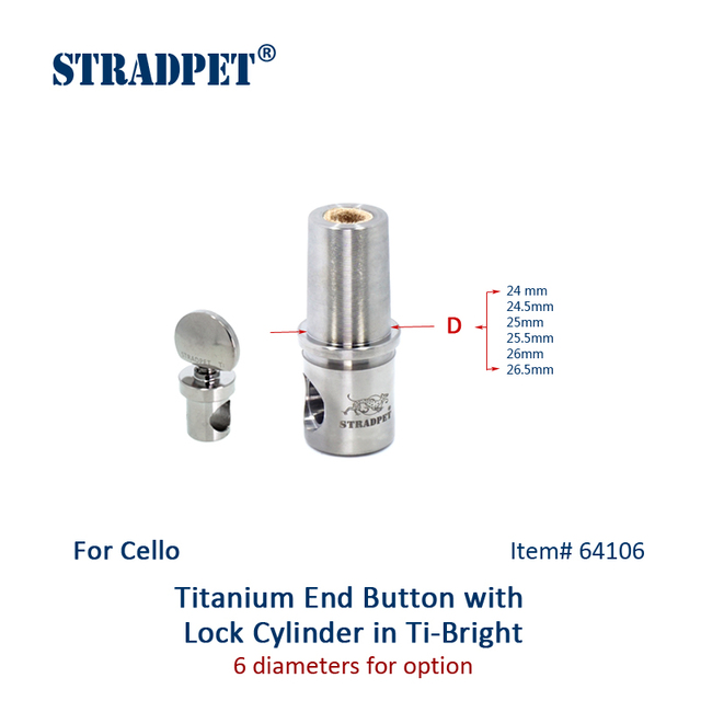 STRADPET Titanium Cello End Button & Lock Cylinder for Diameter 10mm Endpin only in Bright or Gun Gray
