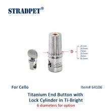Tope de Violonchelo de titanio STRADPET y cilindro de bloqueo para el diámetro 10mm Endpin sólo en brillante o gris arma