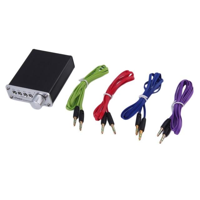 4 Entrada 4 Saída do Fone De Ouvido Fone De Ouvido Fone De Ouvido 3.5mm MP3 Interruptor Do Sinal De Áudio Switcher Digital Multi-Canal Plug EUA preto Por Atacado
