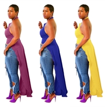 купить Halter Maxi Tshirt For Women Backless Asymmetrical Ropa Mujer Plus Size Sexy Side Split Cut Out Long African Style Camisetas онлайн