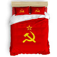 Flagge von UDSSR Bettbezug 3D Baumwolle Bettbezug König Größe Königin Größe Quilt Abdeckung Set Bettwäsche Tröster Einzigen Bettwäsche sets