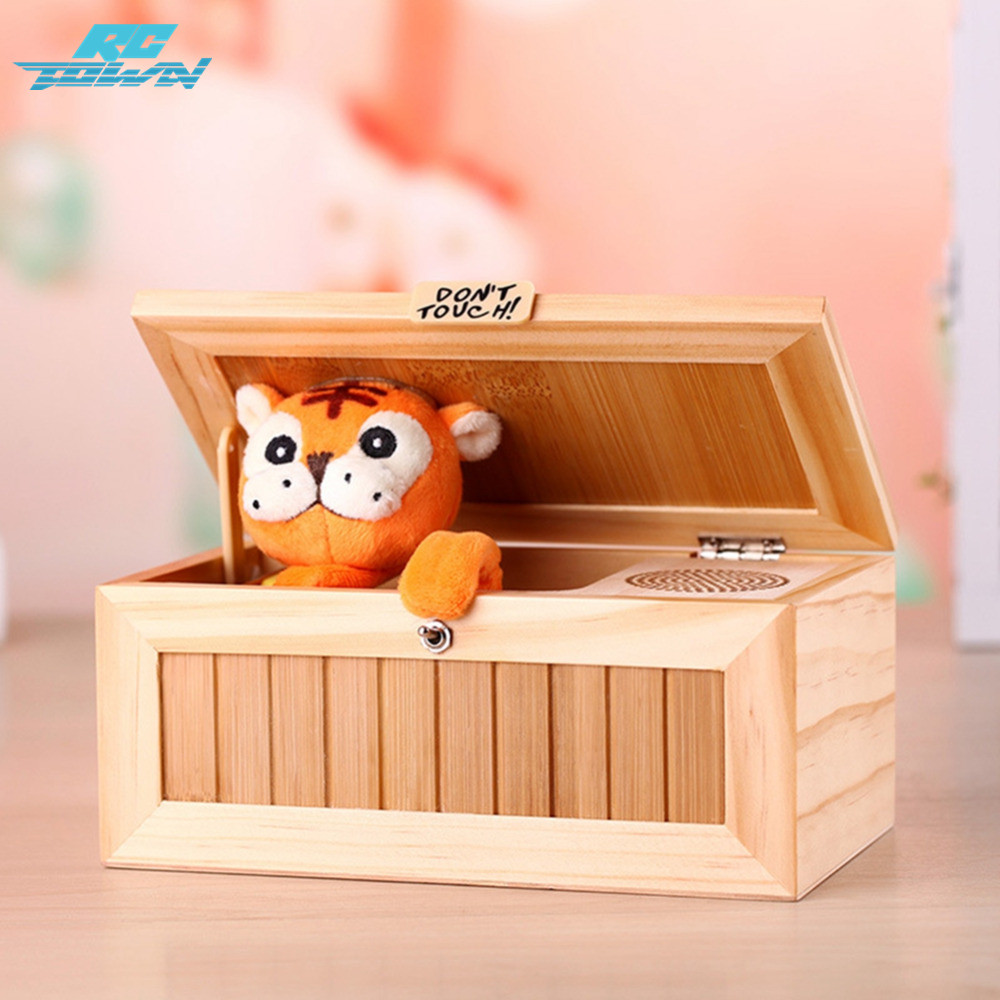 RCtown Wooden Electronic Useless Box With Sound Cute Tiger 20 Modes Automatically Shut Down Desk Decoration Birthday Zk30