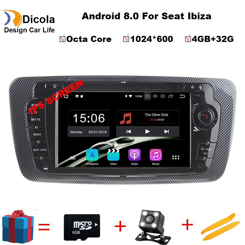Octa Core 2 Din Android 8.0 Car DVD GPS navigation autoradio for Seat Ibiza 2009 2010 2011 2012 2013 4GB RAM 32GB ROM Free MapOcta Core 2 Din Android 8.0 Car DVD GPS navigation autoradio for Seat Ibiza 2009 2010 2011 2012 2013 4GB RAM 32GB ROM Free Map