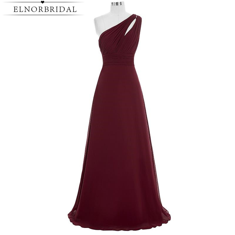 Burgundy Bridesmaid Dresses 2017 Robe Longue Real Photos One Shoulder Wedding Guest Dress Formal Party Gowns For Weddings