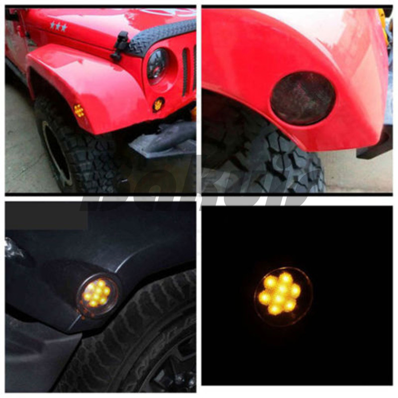 Black LED Light Front Fender Flares Side Marker Turn Signal Light LED Side Marker Lamp For Jeep Wrangler JK 2007~2016 Lamp Amber 4pcs black led front fender flares turn signal light car led side marker lamp for jeep wrangler jk 2007 2015 amber accessories