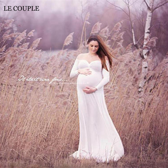28c3171128d Le Couple Off White Jersey Maternity Gown Sweet Heart Cotton Maternity  Photography Props Dresses Long Sleeve Pregnancy Maxi Gown