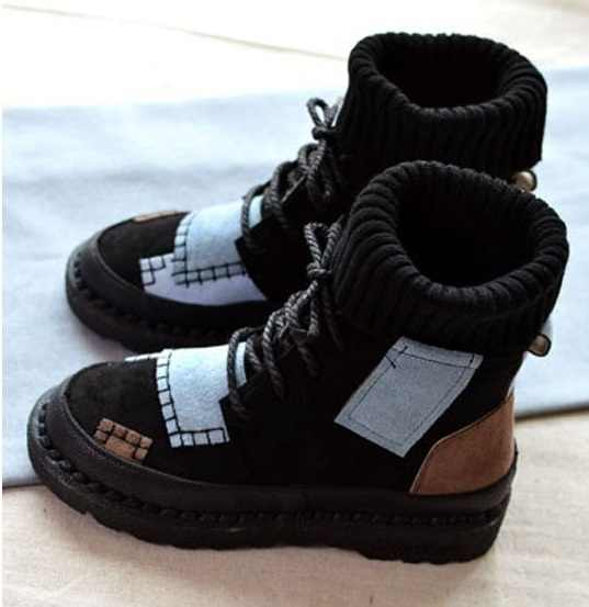 Hete Lente en winter explosies suede canvas kleuraanpassing wilde high-top laarzen vrouwen schoenen Maat 35-41Botas Mujer