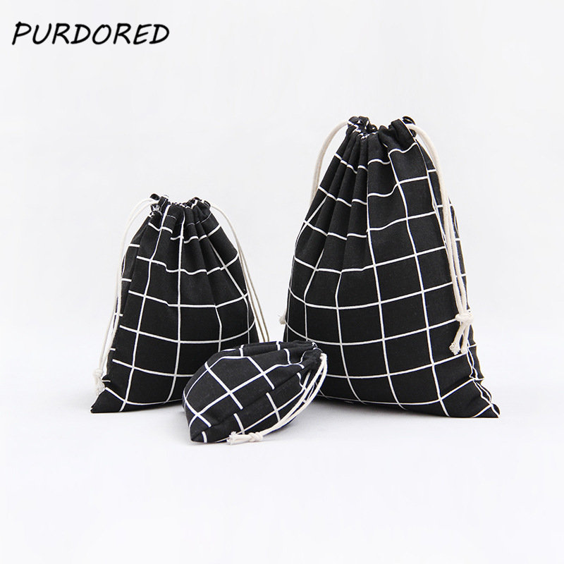 PURDORED 3 Pcs/set Plaid Drawstring Bag Women Travel Organizer Cosmetic Package Bag Home Storage Toiletry Bag Dropshipping