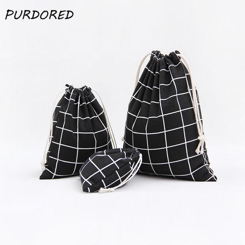 PURDORED 3 Pcs/set Plaid Drawstring Bag Women Travel Organizer Cosmetic Package Bag Home Storage Toiletry Bag Dropshipping