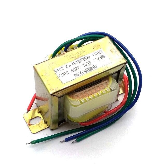 20W EI ferrytowy rdzeń wejściowy 220V 50Hz pionowy montaż transformator prądu elektrycznego napięcie wyjściowe Doubel 12V