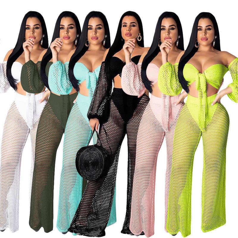 夏の女性のかぎ針メッシュスーツ網着用してくださいランタートップスとワイド脚 Psnts 上下セット