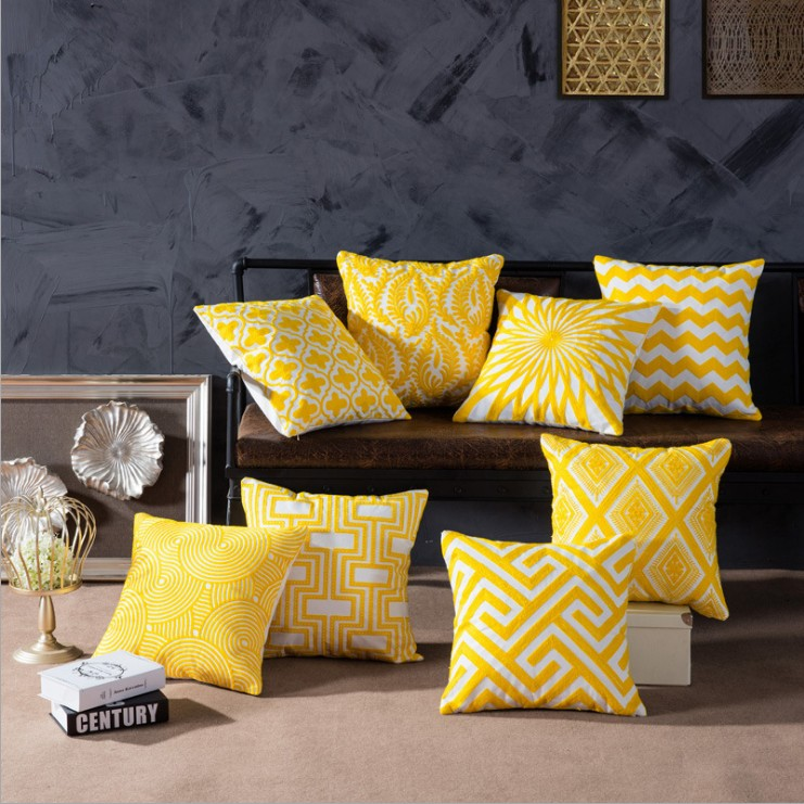 Embroidery Pillow Cover Home Decor Yellow Geometric Cotton Square Embroidered Cushion Cover Throw Pillows For Sofa 45x45cm